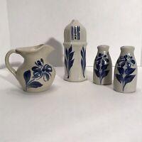 Gray & Blue, Grey & Blue Pottery Salt and Pepper Shaker, Sugar Shaker, Creamer
