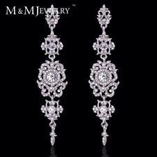 Chandelier Crystal Bridal Platinum Plated topaz Drop Earrings Victorian Wedding