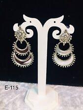 Oxidized Silver Colour Earring Jumka Jumki Mirror Afghani Style Jewellery Uk New