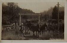 "RPPC ""to the train"" Yarbrough Farm horses wagon cherries sorri people  5812"