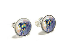 Horse Running - Painting - Novelty Silver Plated Stud Earrings