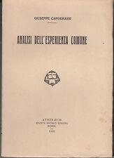 FILOSOFIA PRIMA EDIZIONE CAPOGRASSI GIUSEPPE ANALISI DELL'ESPERIENZA COMUNE 1930