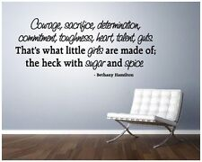 Bethany Hamilton WALL QUOTE Courage little girls Vinyl lettering decal