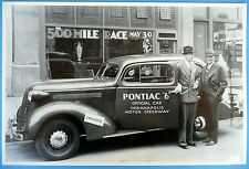 "12 By 18"" Black & White Picture 1936 Pontiac ""6"" 2 Door Indiana Motor Speedway"