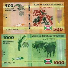 SET Burundi, 500;1000 Francs, 2015, P-New, UNC > New Design