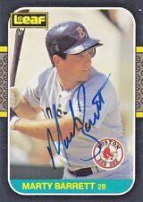1987 Leaf #165 Signed Marty Barrett Red Sox 2B Autograph JSA