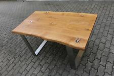 Designer Esstisch Eiche Wild Holz Tisch Edelstahl Gestell Bürotisch Schreibtisch