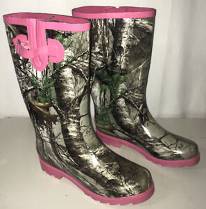 Real Tree Womens Rain Boots Size 7 Camo With Pink Trim