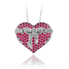 925 Sterlingsilber Künstlicher Rubin Herz Halskette