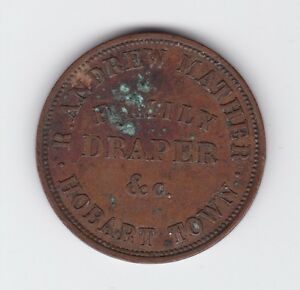 Token Penny Robert Andrew Mather Family Draper Hobart Tasmania circa 1860 Z-432
