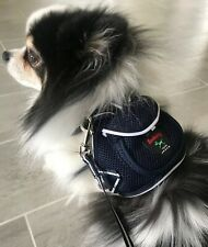 NWT Pet Soft Adjustable Backpack Harness With Leash Set For Small Dog Cat Navy