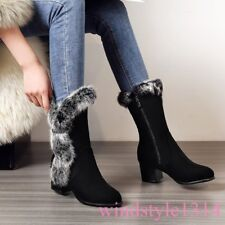 Winter Womens Real Rabbit Fur Knee High Boots Kitten Heel Suede Leather Casual