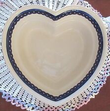 Boleslawiec Polish Pottery Large Heart Shaped Peacock Serving Bowl Casserole