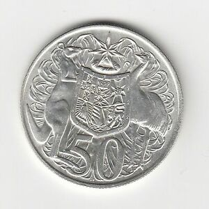 1966 AUSTRALIA ROUND 50 CENT COIN - 80% SILVER - In Quality 2x2 Holder