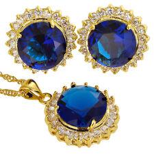 Melina Jewelry Set Blue Round Cut Necklace Pendant Earrings