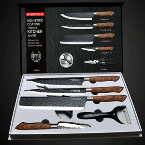 Kitchen Knife Set Stainless Steel Chef Butcher Japanese 6Pcs Knive Gift Box Tool