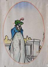Dessin original de Ferdinand BOSCHER vers 1905 mode Empire Napoléon incroyable