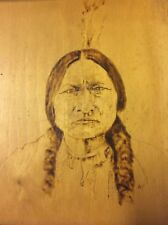 Pyrography Vintage Portrait Wood Burning American Indian Chief, Sitting Bull