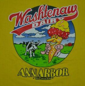 Washtenaw Dairy Ice Cream Donuts Ann Arbor MI Classic Logo T Shirt Youth Large