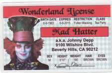Johnny Depp the Mad Hatter novelty plastic collectors card Drivers License