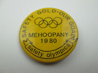 Vintage 1980 Mehoopany Pennsylvania Safety Olympics Pin Badge Button Pinback