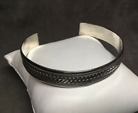 VTG Unbranded 925 Sterling Silver Roped & Braided Flexible Cuff Bracelet 7.5""