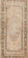 Vintage Muted Geometric Anatolian Turkish Runner Rug Hand-knotted Carpet 4x9