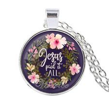 Jesus Paid It All Fashion Bible Verses Necklace Glass Cabochon Pendant Scripture