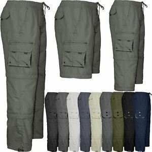 Mens Elasticated Waist 3 in 1 Zip Off Trousers Cargo Work Pants Bottoms M-4XL