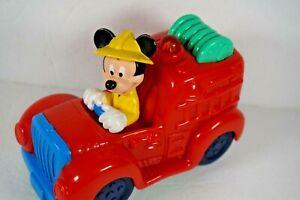 DISNEY MICKEY WITH FIRE TRUCK-PRESS THE FIRE HOSE & HEAR A SIREN & IT LIGHTS UP!