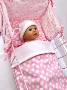 DOLLS BLANKET & PILLOW COT/PRAM BEDDING SET PRETTY PINK HEARTS BABY ANNABELL