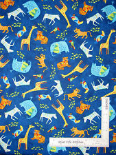 Safari Animal Giraffe Zebra Blue Cotton Fabric Timeless Treasures C4603 - Yard