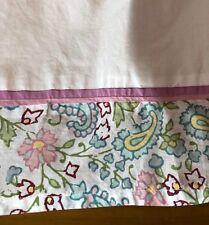 Pottery Barn Kids Bed Skirt Dust Ruffle 100% Cotton Paisley Pink Blue Sz Full