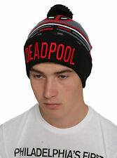 MARVEL COMICS DEADPOOL LOGO Embroidered Pom Pom Watchman Beanie Knit Ski Hat e8e653ec5a2a