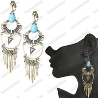 "BIG 4""long CHANDELIER EARRINGS antique brass aztec VINTAGE STYLE clips/hooks"