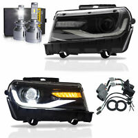 LED Headlights w/ DRL Sequential Turn Sig. + VLAND H7 LED Bulbs for 14-15 Camaro