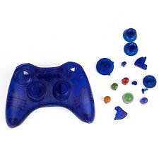 Blue Custom Crystal Clear Wireless Controller Shell Case For XBox 360 Pad