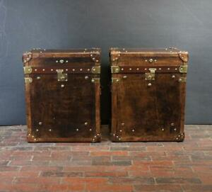 Hand Made English Bespoke Mid Brown Night Stands Tables Trunk