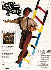 ★ David-Bowie: Never Let Me Down Ad/Konzertankündigung 1987 (1 Seite)