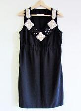 Basque Sz 10 Black Cream Diamante Embellished V-Neck Sleeveless Shift Work Dress