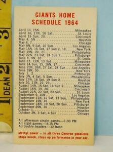 1964 San Francisco Giants Baseball Schedule Chevron Standard Oil Parking Card