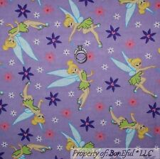 BonEful Fabric FQ Cotton Quilt Girl Flannel Disney Tinkerbell Fairy Flower Heart