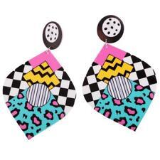 Exquisite Colorful Acrylic Long Drop Dangle Pop-Art Cubic Pattern Gift Women