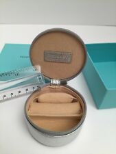 Tiffany & Co Silver Leather Round Zip Travel Jewelry Box Case Rings Earrings T20