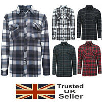 Mens Brushed Fleece Thermal Check Lumberjack Flannel Shirt Warm Winter Work Top