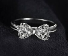 White gold finish bow created diamond engagement anniversary ring size  N P R
