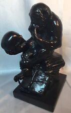 Ape Holding Skull Sculpture Statue by Alva 1981 Monkey Human Skull Darwin