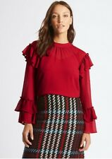 M&S COLLECTION LIPSTICK RED FRILL SLEEVE BLOUSE SIZE 14 RRP £35**