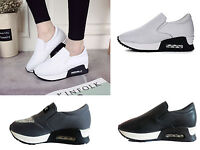 Women's Wedge Casual Gym Slip On Trainer Travel Sneaker Loafer Running Shoe Size