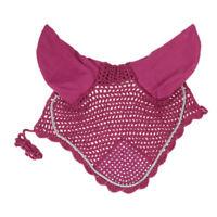 Horse Breathable Cotton Rhinestone Ear Bonnet/Net/Mask/Hood Crochet Fly Veil